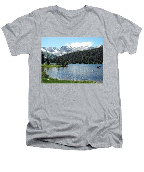 Long Lake Splender  Men's V-Neck T-Shirt by Joseph Hendrix