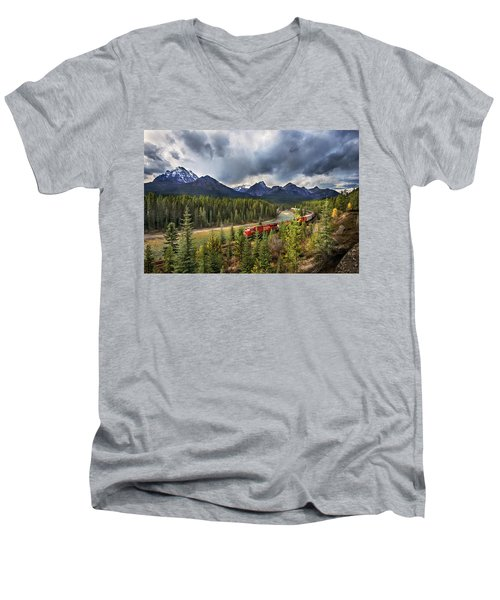 Men's V-Neck T-Shirt featuring the photograph Long Train Running by John Poon