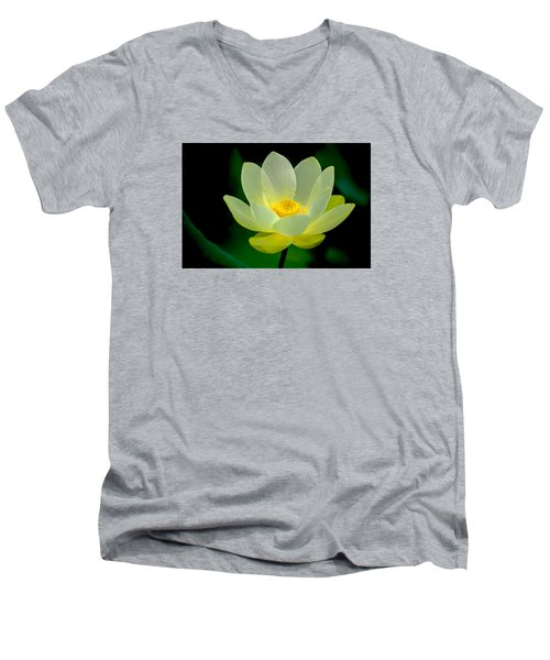 Men's V-Neck T-Shirt featuring the photograph Lotus Blossom by Tyson and Kathy Smith