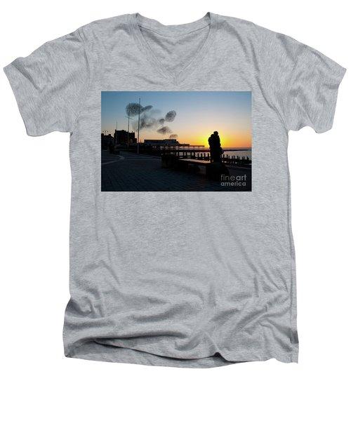 Love Birds At Sunset Men's V-Neck T-Shirt