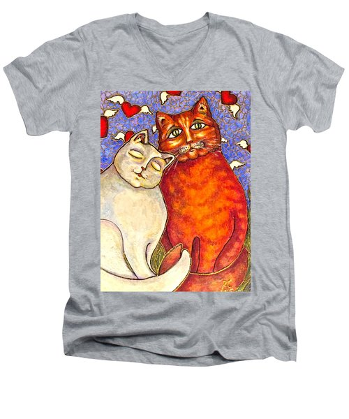 Men's V-Neck T-Shirt featuring the painting Love Is In The Air by Rae Chichilnitsky