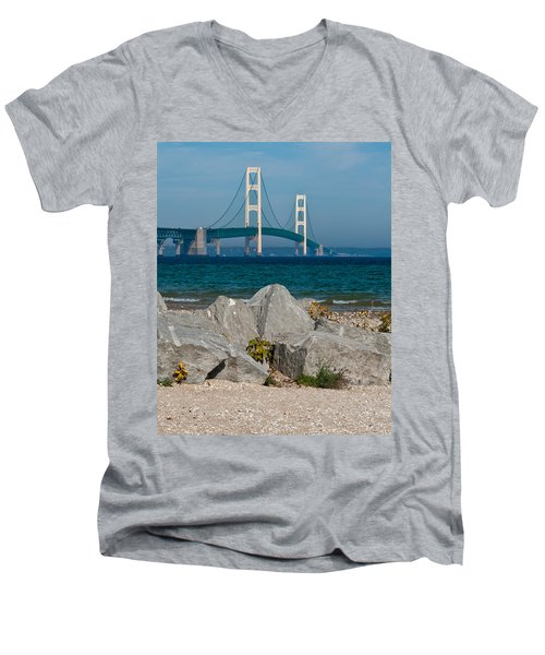 Mackinac Bridge Men's V-Neck T-Shirt