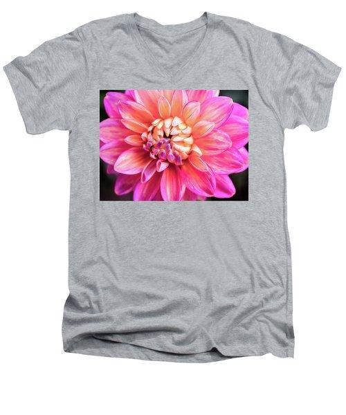 Magenta Dahlia Men's V-Neck T-Shirt