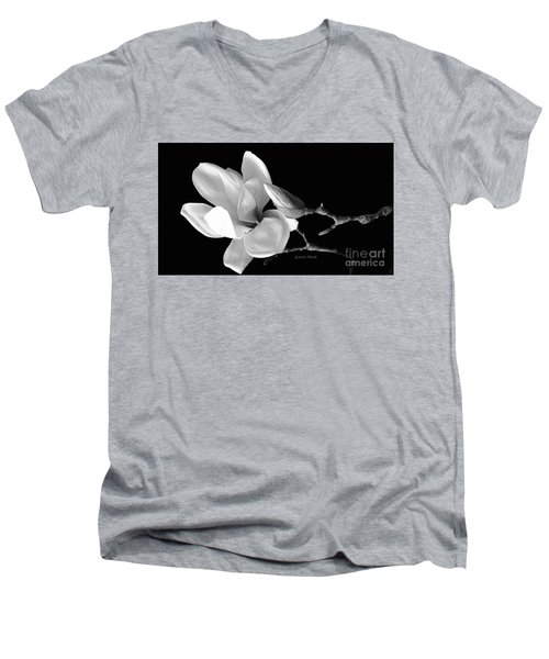 Magnolia In Monochrome Men's V-Neck T-Shirt