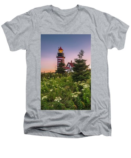 Maine West Quoddy Head Light At Sunset Men's V-Neck T-Shirt by Ranjay Mitra