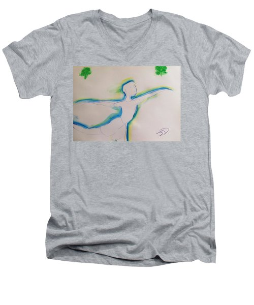 Male Dancer  Men's V-Neck T-Shirt by Judith Desrosiers