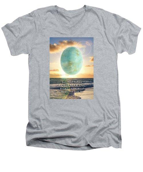 March Birthstone Aquamarine Men's V-Neck T-Shirt