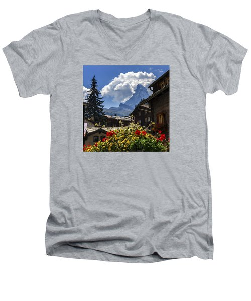 Matterhorn And Zermatt Village Houses, Switzerland Men's V-Neck T-Shirt