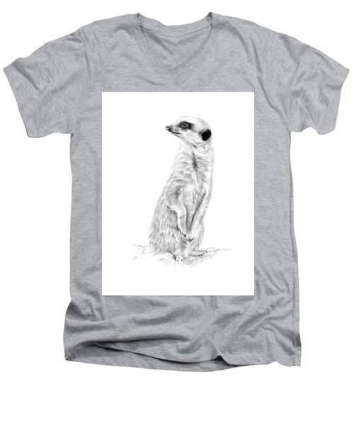Men's V-Neck T-Shirt featuring the mixed media Meerkat In Charge by Elizabeth Lock