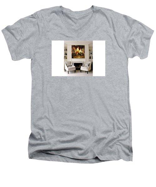 Meeting Men's V-Neck T-Shirt by Heather Roddy