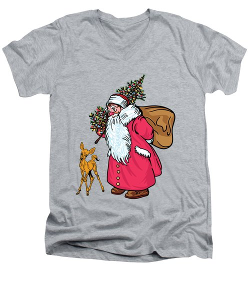 Men's V-Neck T-Shirt featuring the painting Merry Christmas. by Andrzej Szczerski