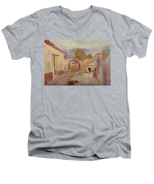 Mexican Street Scene Men's V-Neck T-Shirt by Larry Hamilton