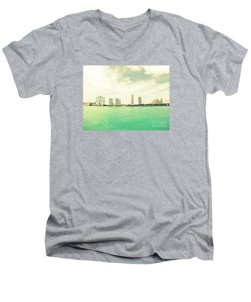 Miami  Men's V-Neck T-Shirt by France Laliberte