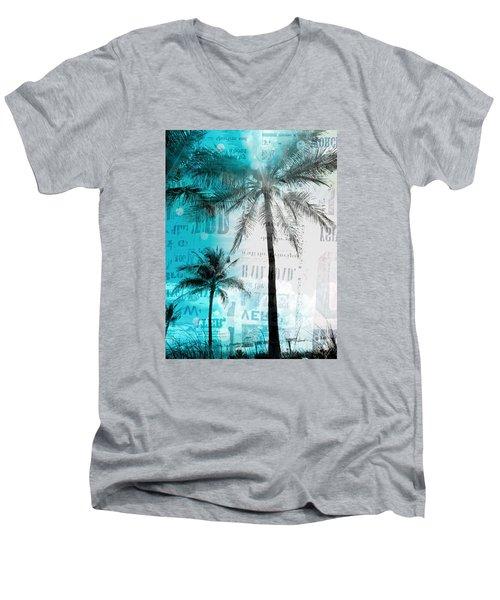 Miami Palm Trees Men's V-Neck T-Shirt by France Laliberte