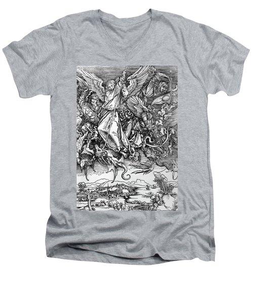 Michael Defeats Satan Men's V-Neck T-Shirt