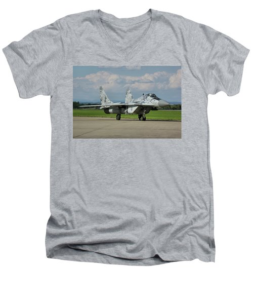 Men's V-Neck T-Shirt featuring the photograph Mikoyan-gurevich Mig-29as by Tim Beach