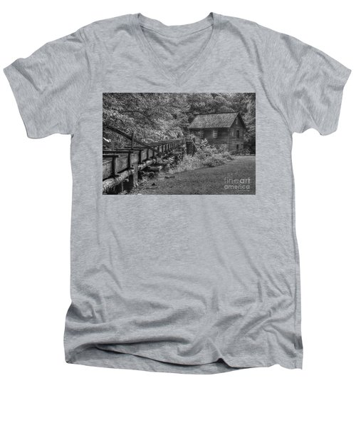 Men's V-Neck T-Shirt featuring the photograph Mingus Mill 3 Mingus Creek Great Smoky Mountains Art by Reid Callaway