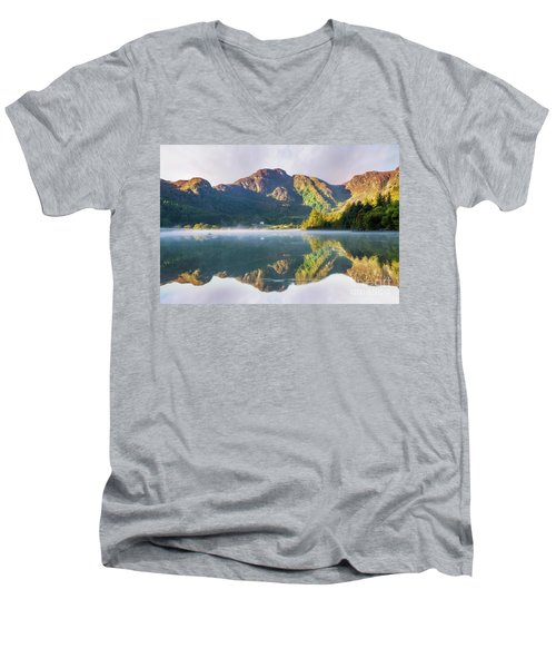 Misty Dawn Lake Men's V-Neck T-Shirt by Ian Mitchell
