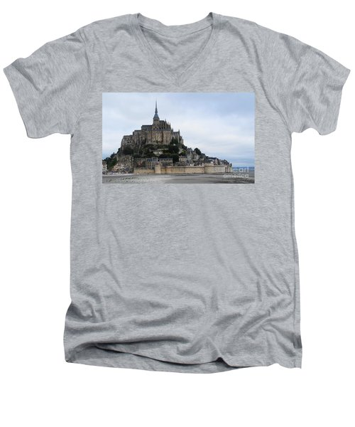 Mont St Michel Men's V-Neck T-Shirt by Therese Alcorn
