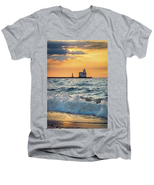 Men's V-Neck T-Shirt featuring the photograph Morning Dance On The Beach by Bill Pevlor