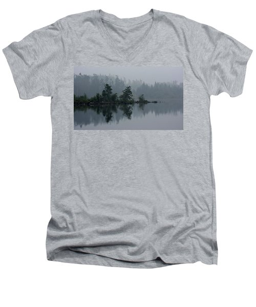 Morning Fog Over Cranberry Lake Men's V-Neck T-Shirt