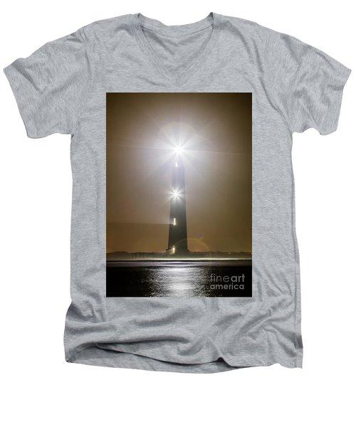 Morris Island Light House 140 Year Anniversary Lighting Men's V-Neck T-Shirt