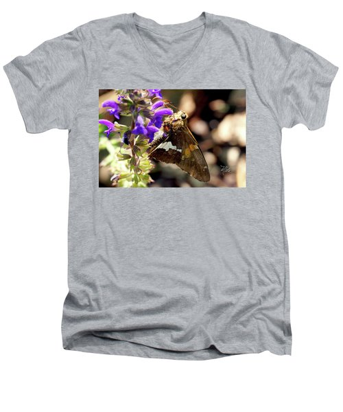 Men's V-Neck T-Shirt featuring the photograph Moth On Purple Flower by Meta Gatschenberger
