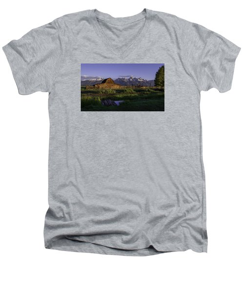 Moulton Barn At Dawn Men's V-Neck T-Shirt by Mary Angelini