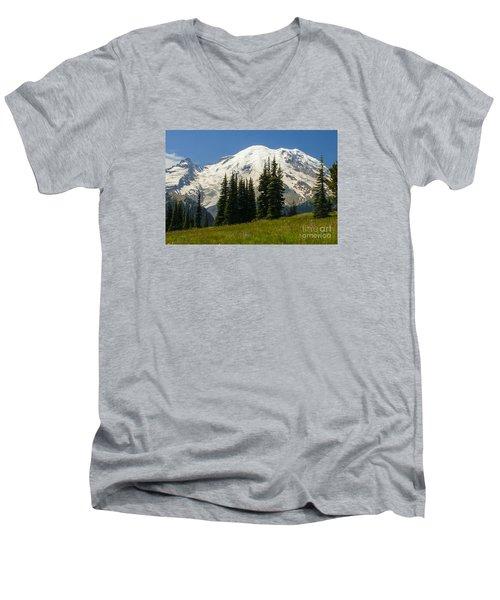 Mt. Rainier Alpine Meadow Men's V-Neck T-Shirt
