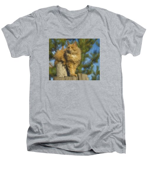 Men's V-Neck T-Shirt featuring the photograph My Cat by Vladimir Kholostykh