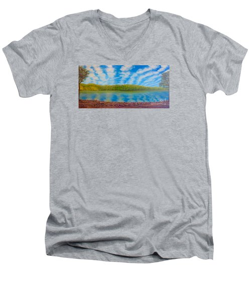 My Serenity Lies In A Place Between Heaven And Earth Men's V-Neck T-Shirt