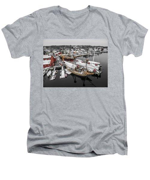 Mystic Seaport In Winter Men's V-Neck T-Shirt by Petr Hejl