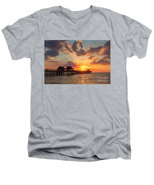 Men's V-Neck T-Shirt featuring the photograph Naples Pier At Sunset by Brian Jannsen