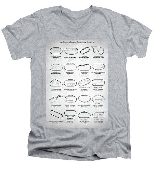 Men's V-Neck T-Shirt featuring the digital art Nascar Racetracks by Taylan Apukovska