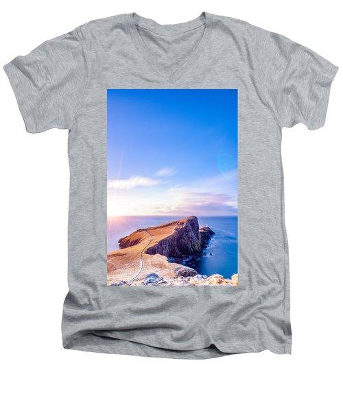 Neist Point Lighthouse At Dawn Men's V-Neck T-Shirt