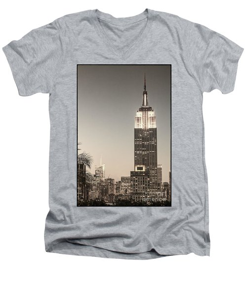 Men's V-Neck T-Shirt featuring the photograph New York Empire State Building by Juergen Held