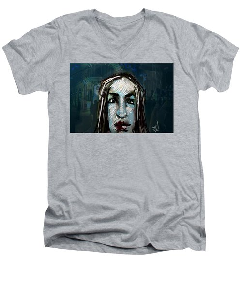 Night Life Men's V-Neck T-Shirt by Jim Vance