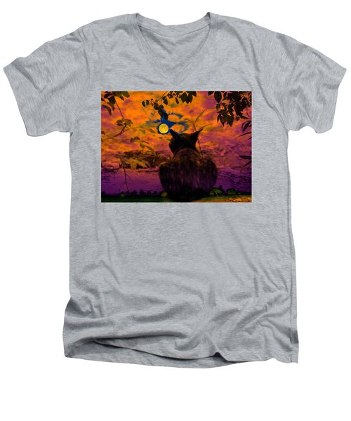 Men's V-Neck T-Shirt featuring the digital art Night Loneliness by Bliss Of Art