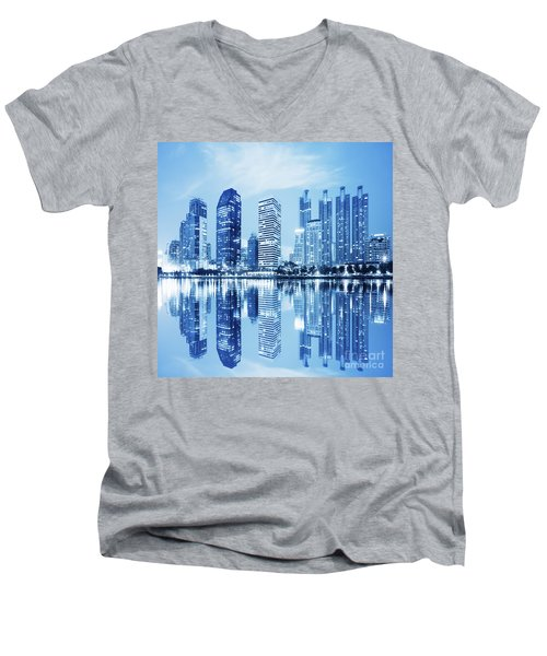 Men's V-Neck T-Shirt featuring the photograph Night Scenes Of City by Setsiri Silapasuwanchai