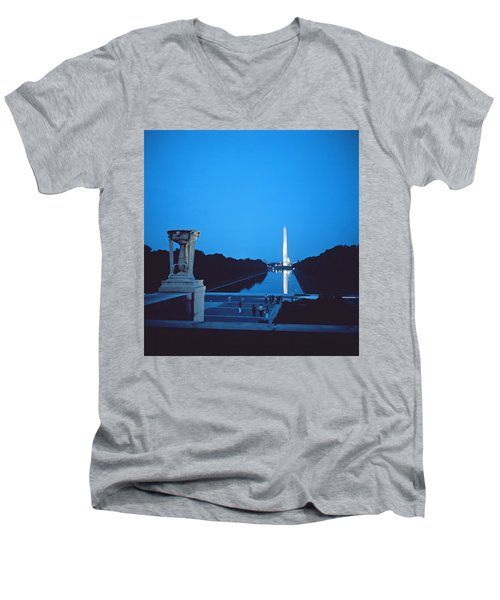 Night View Of The Washington Monument Across The National Mall Men's V-Neck T-Shirt