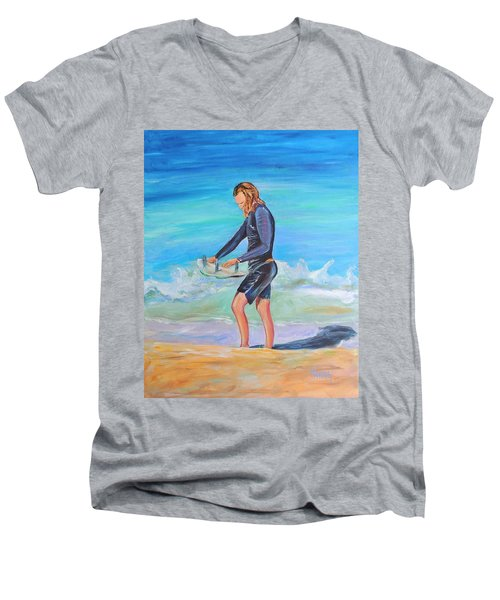 Men's V-Neck T-Shirt featuring the painting Noah by Patricia Piffath