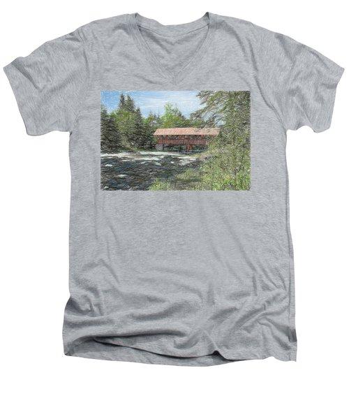Men's V-Neck T-Shirt featuring the digital art North Country Bridge by John Selmer Sr