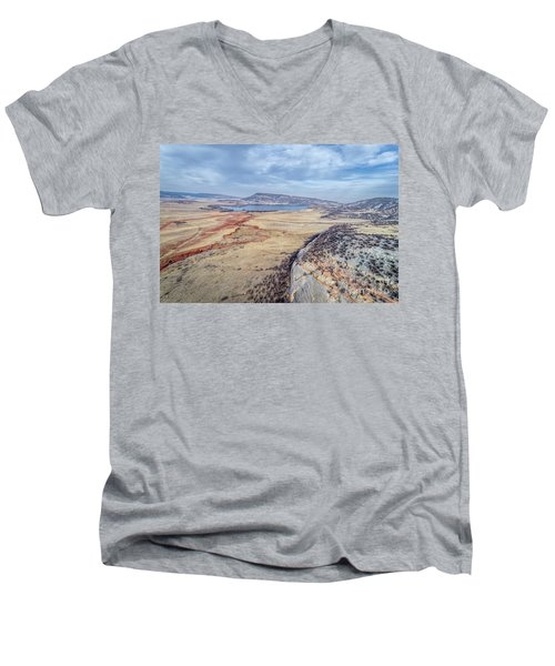 northern Colorado foothills aerial view Men's V-Neck T-Shirt