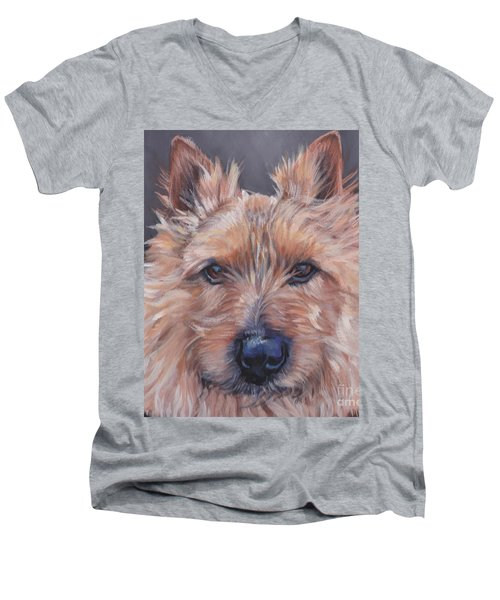 Men's V-Neck T-Shirt featuring the painting Norwich Terrier by Lee Ann Shepard