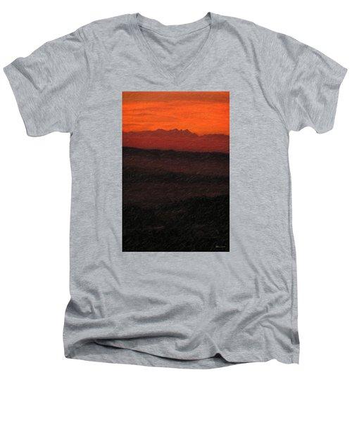 Not Quite Rothko - Blood Red Skies Men's V-Neck T-Shirt by Serge Averbukh
