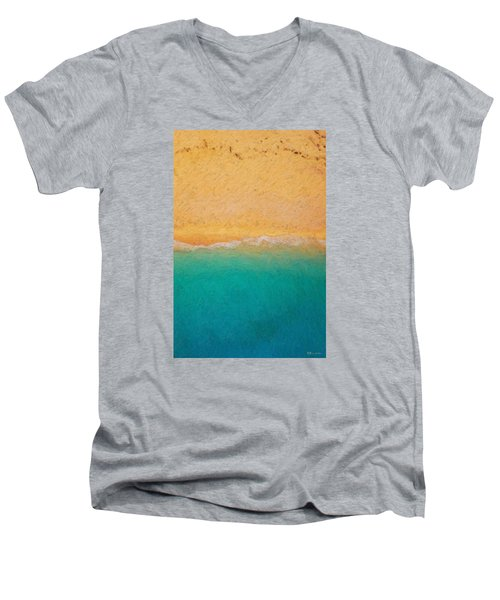 Not Quite Rothko - Surf And Sand Men's V-Neck T-Shirt by Serge Averbukh