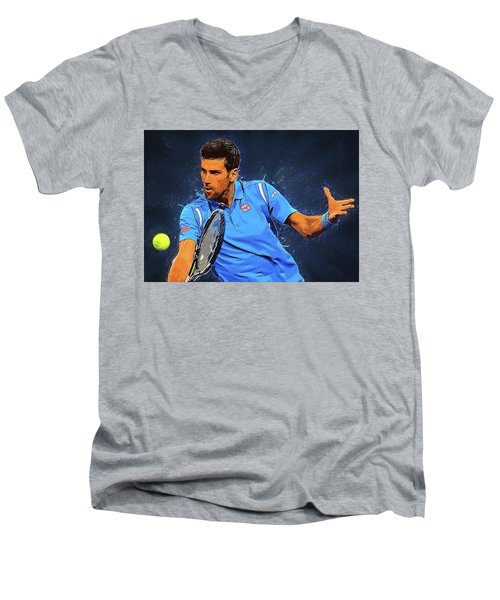 Novak Djokovic Men's V-Neck T-Shirt by Semih Yurdabak