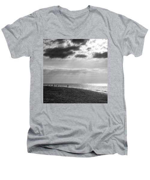 Old Hunstanton Beach, Norfolk Men's V-Neck T-Shirt by John Edwards