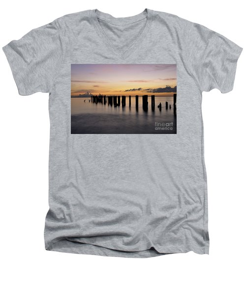 Men's V-Neck T-Shirt featuring the photograph Old Naples Pier by Kelly Wade