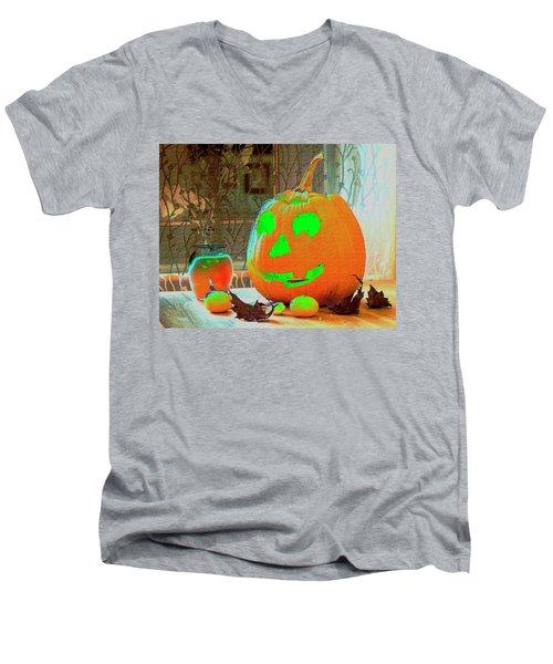 Orange Halloween Decoration Men's V-Neck T-Shirt
